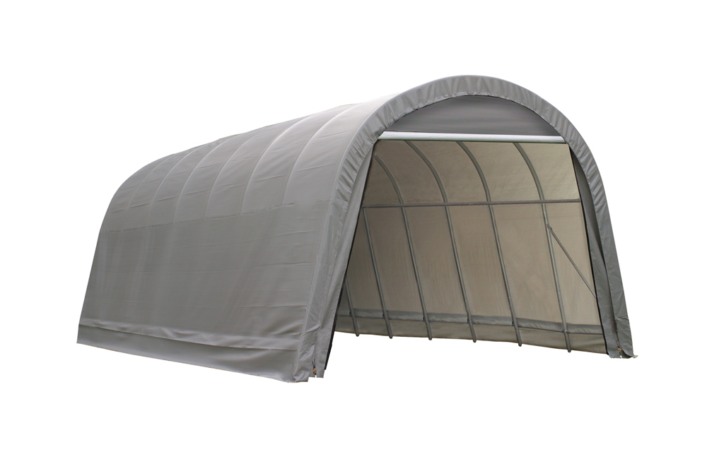 Shelter Logic Outdoor Garage Automotive Boat Car Vehicle Storage Shed 14x28x12 Round Style Shelter Grey Cover at Sears.com