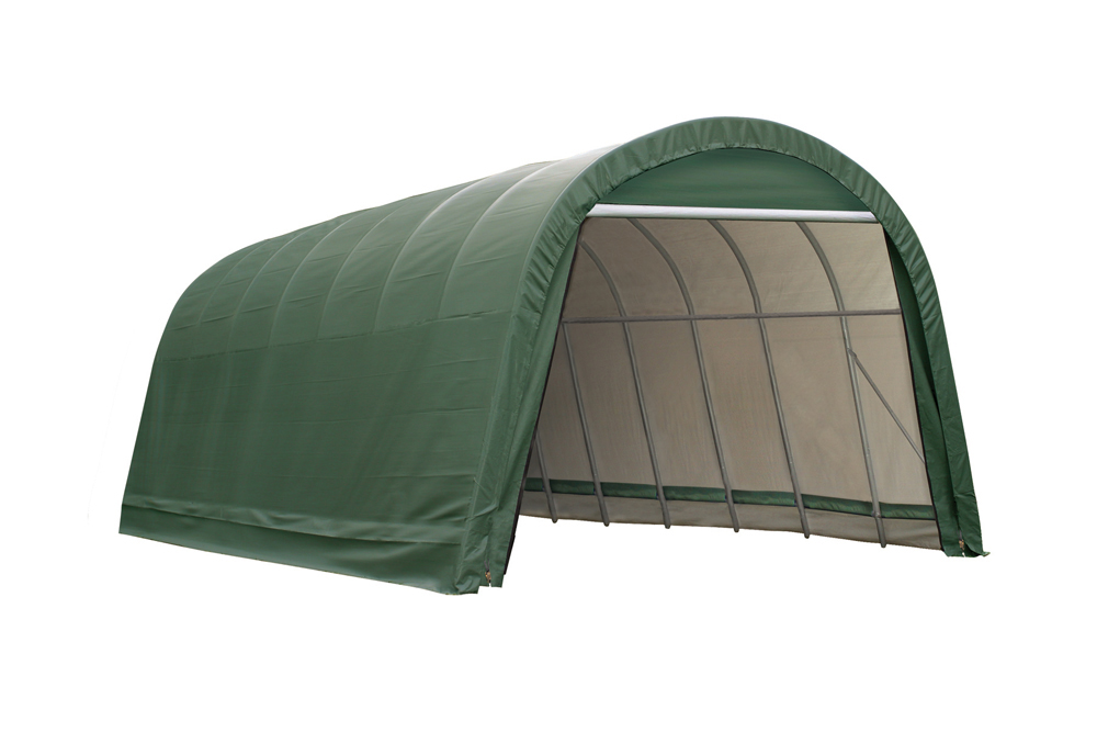 Shelter Logic Outdoor Garage Automotive Boat Car Vehicle Storage Shed 14x28x12 Round Style Shelter Green Cover at Sears.com