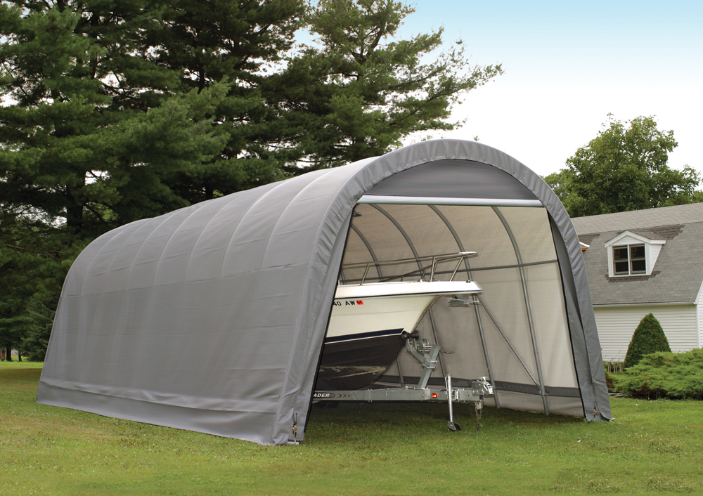 Shelter Logic Outdoor Garage Automotive Boat Car Vehicle Storage Shed 14x20x12 Round Style Shelter Grey Cover at Sears.com