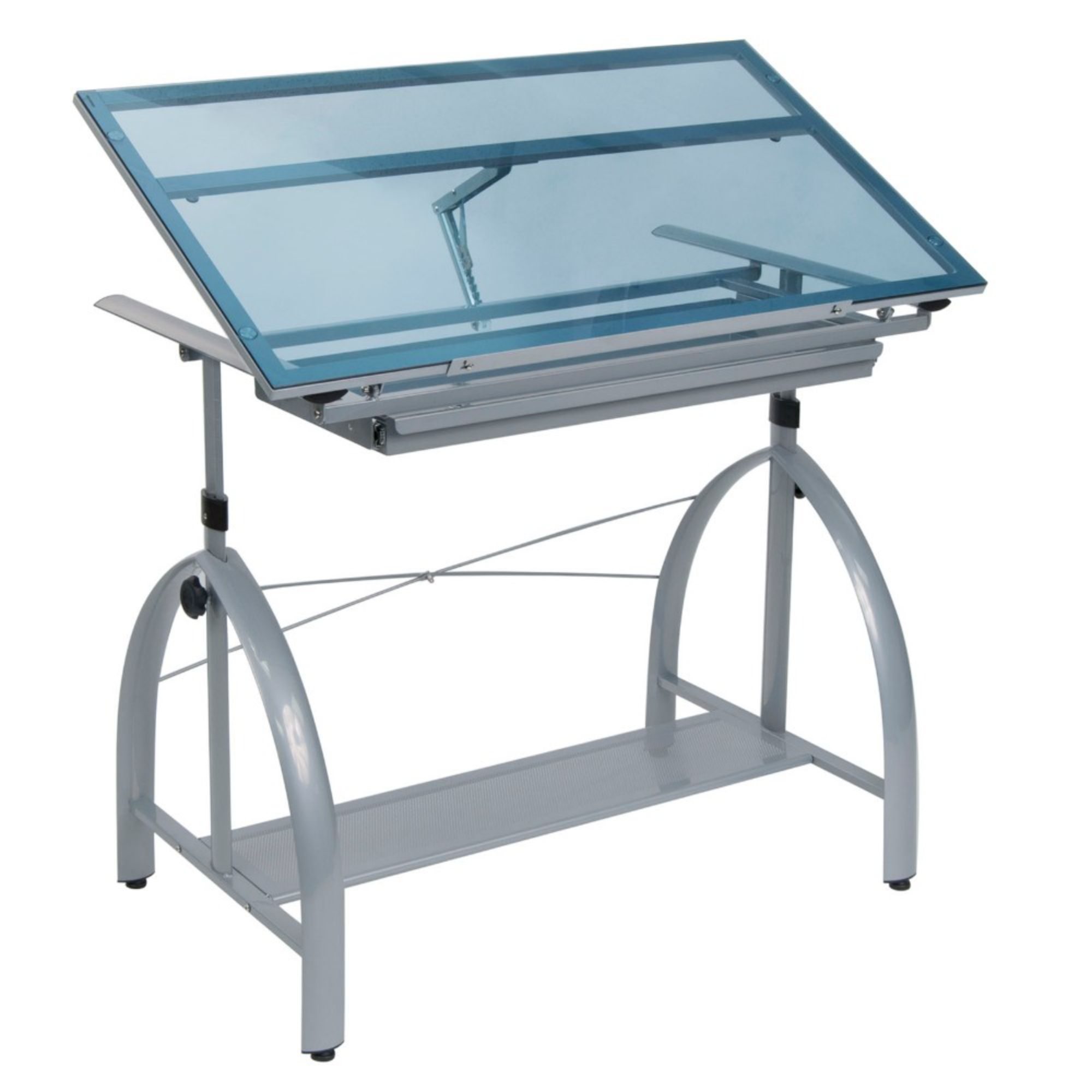 Offex Avanta Drafting Table (Silver/ Blue Glass)