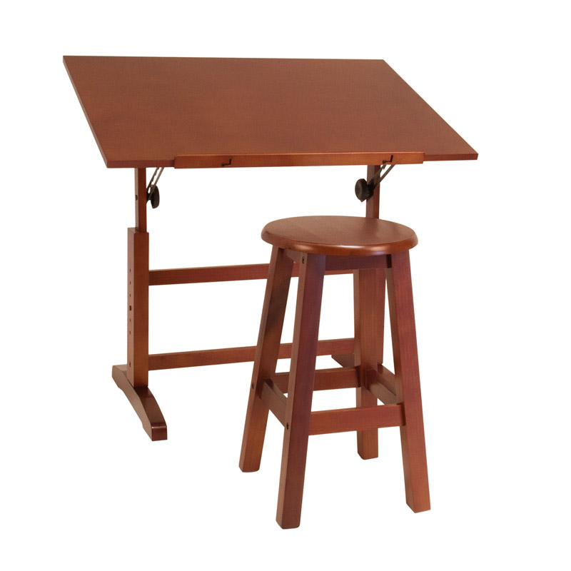 Offex Creative Table/ Stool Set (Walnut)