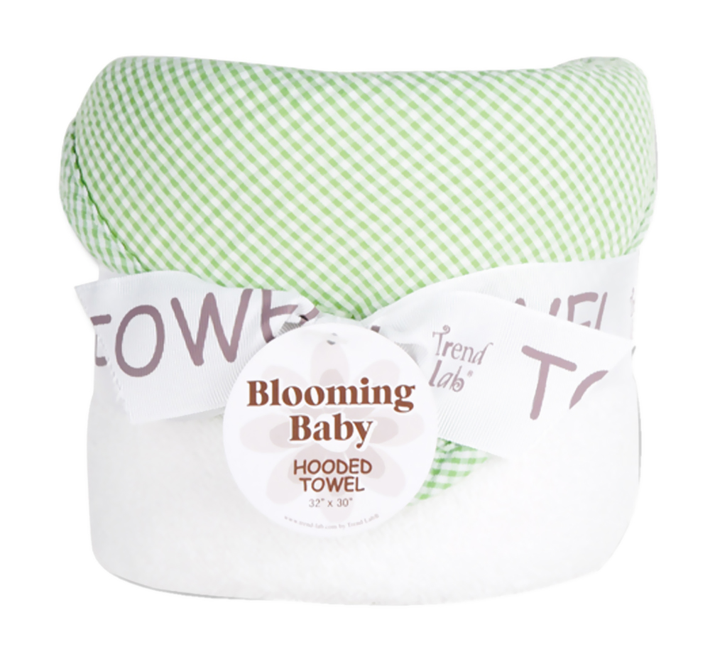 Trend Lab Trend Lab Kids Bouquet Hooded Towel - Gingham Seersucker Sage