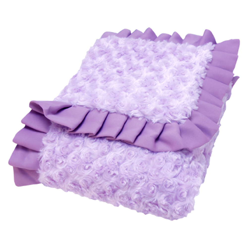 Trend Lab Kids Receiving Blanket - Ruffle Trimmed Lilac And Plum Swirl Velour