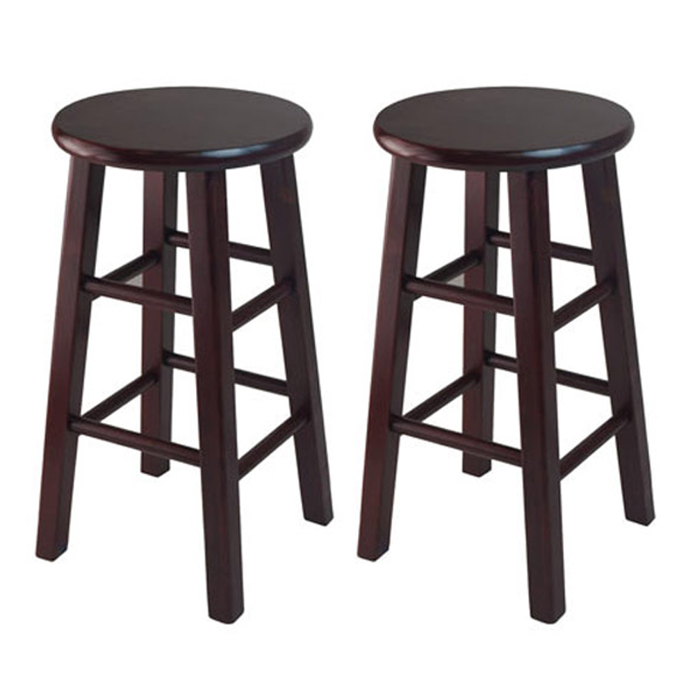 Winsome Wood Assembled 24 Inch Counter Stool With Square Legs, Dark Espresso Finish - 2 Piece at Sears.com