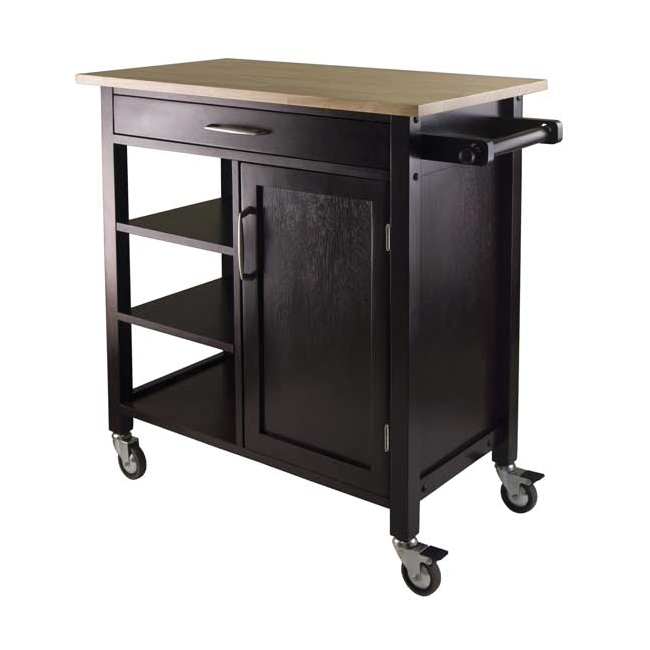 Winsome Mali Solid Composite Wood Table Top Kitchen Cart In Espresso Finish at Sears.com