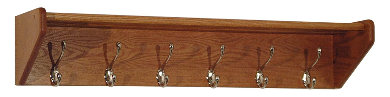 Offex Home Wall Mounted  6 Hook Shelf 36HCRNMO