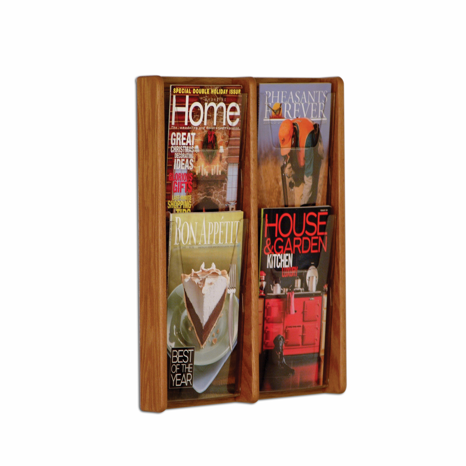 Offex Stance 4 Pocket Wall Display 2Wx2H Medium Oak