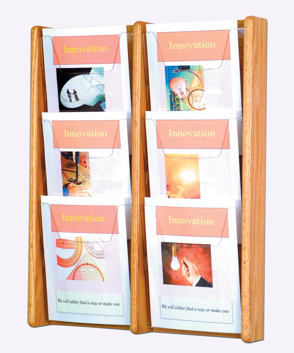 "Wooden Mallet Books Newspaper Magazine Holders Stance 6 Pocket Wall Display Rack 2""x3"" Light Oak at Sears.com"