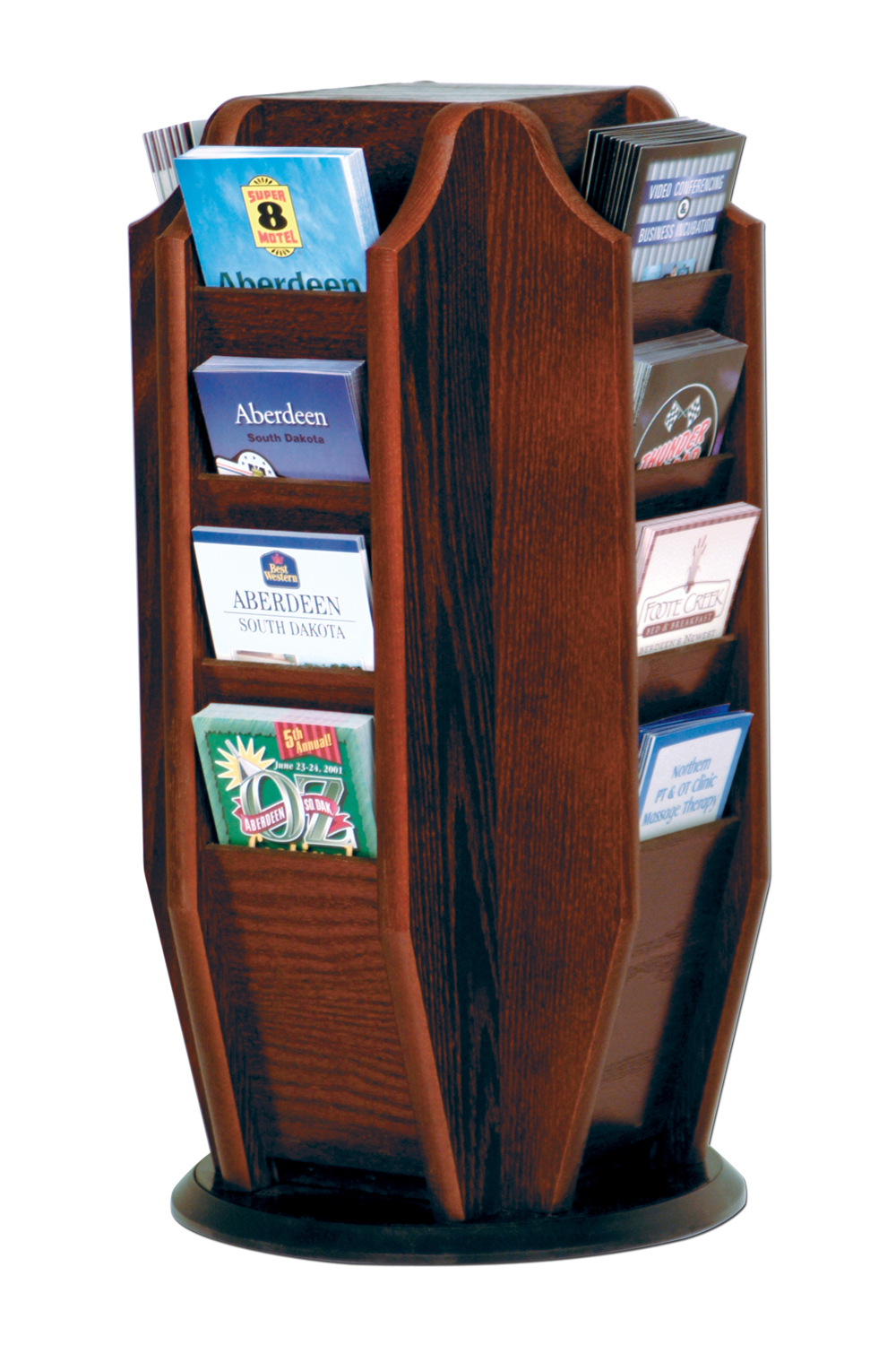 Offex Cascade Spinning Countertop Display With 16 Brochure Pockets Mahogany