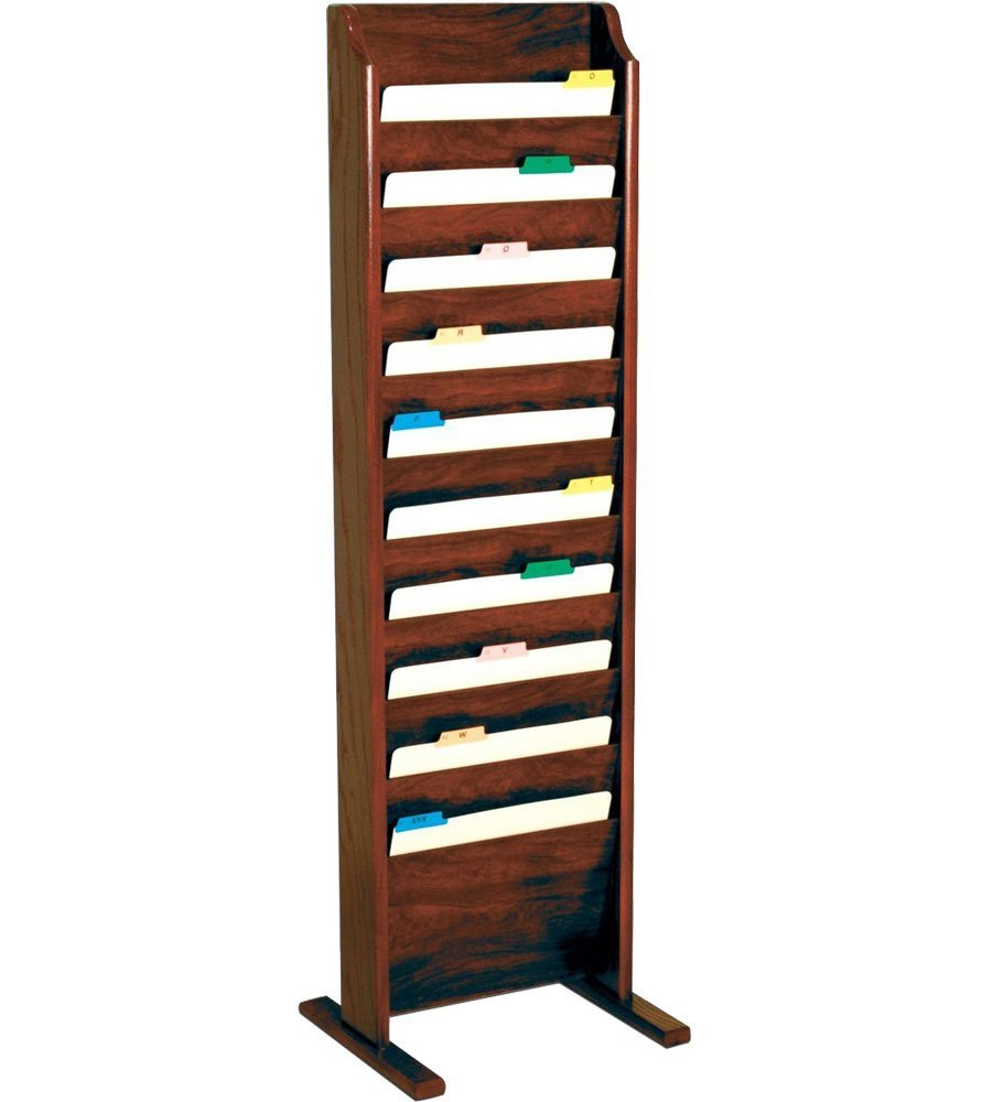 Offex Free Standing 10 Pocket Letter Size File Holder Mahogany