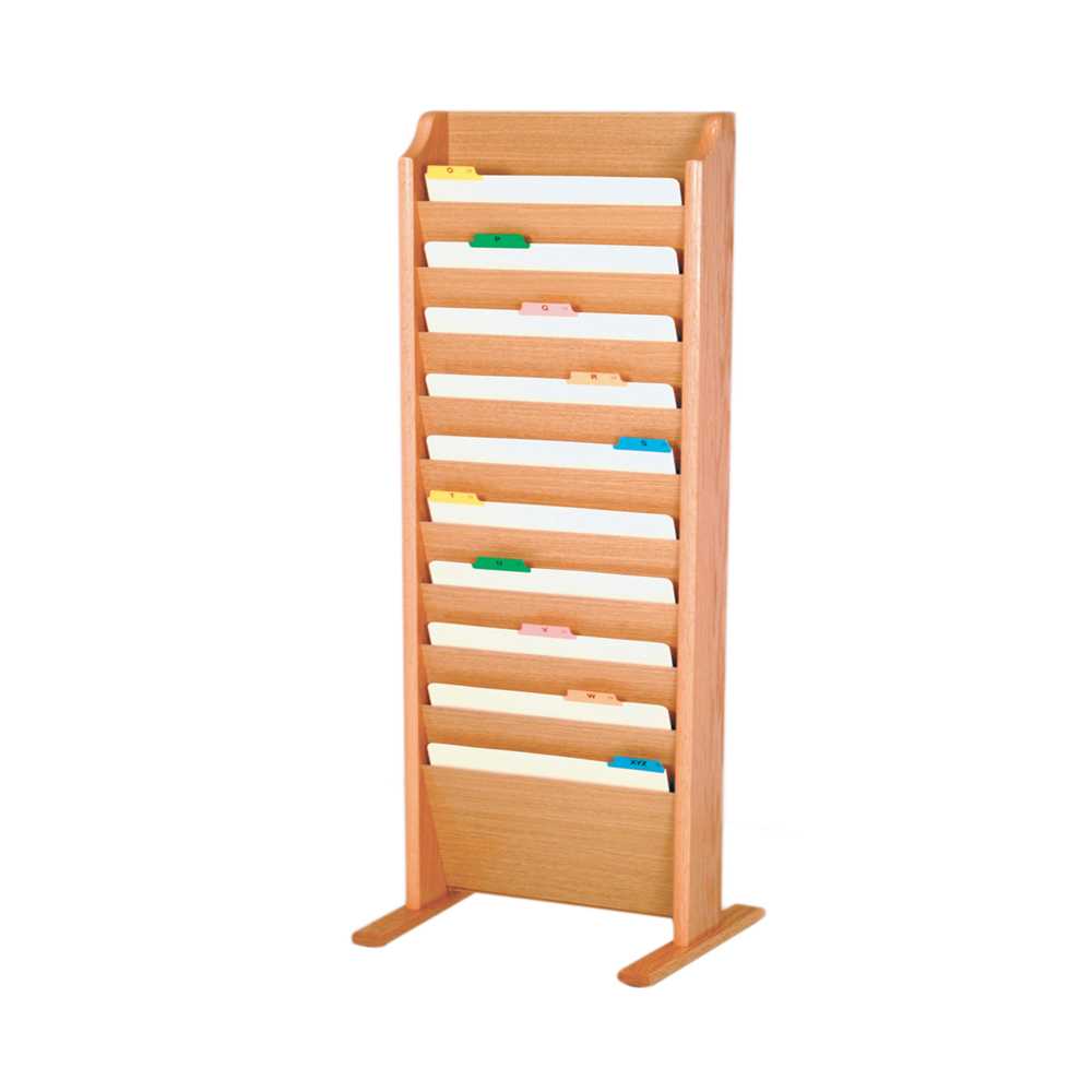 Offex Free Standing 10 Pocket Legal Size File Holder Light Oak