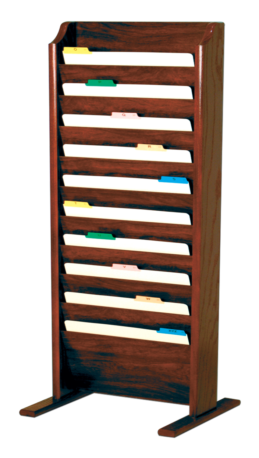 Offex Free Standing 10 Pocket Legal Size File Holder Mahogany