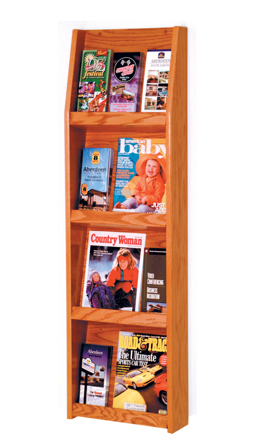 Offex Slope 12 Pocket Literature Display 4Hx3W Medium Oak