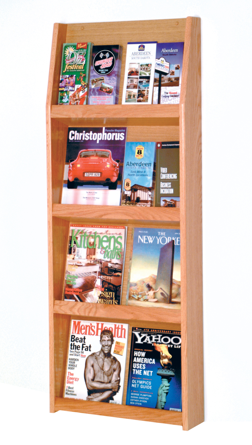 Offex Slope 16 Pocket Literature Display 4Hx4W Light Oak