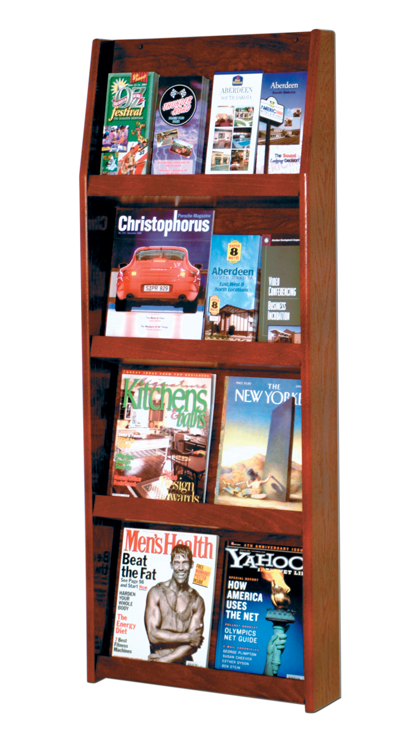 Offex Slope 16 Pocket Literature Display 4Hx4W Mahogany