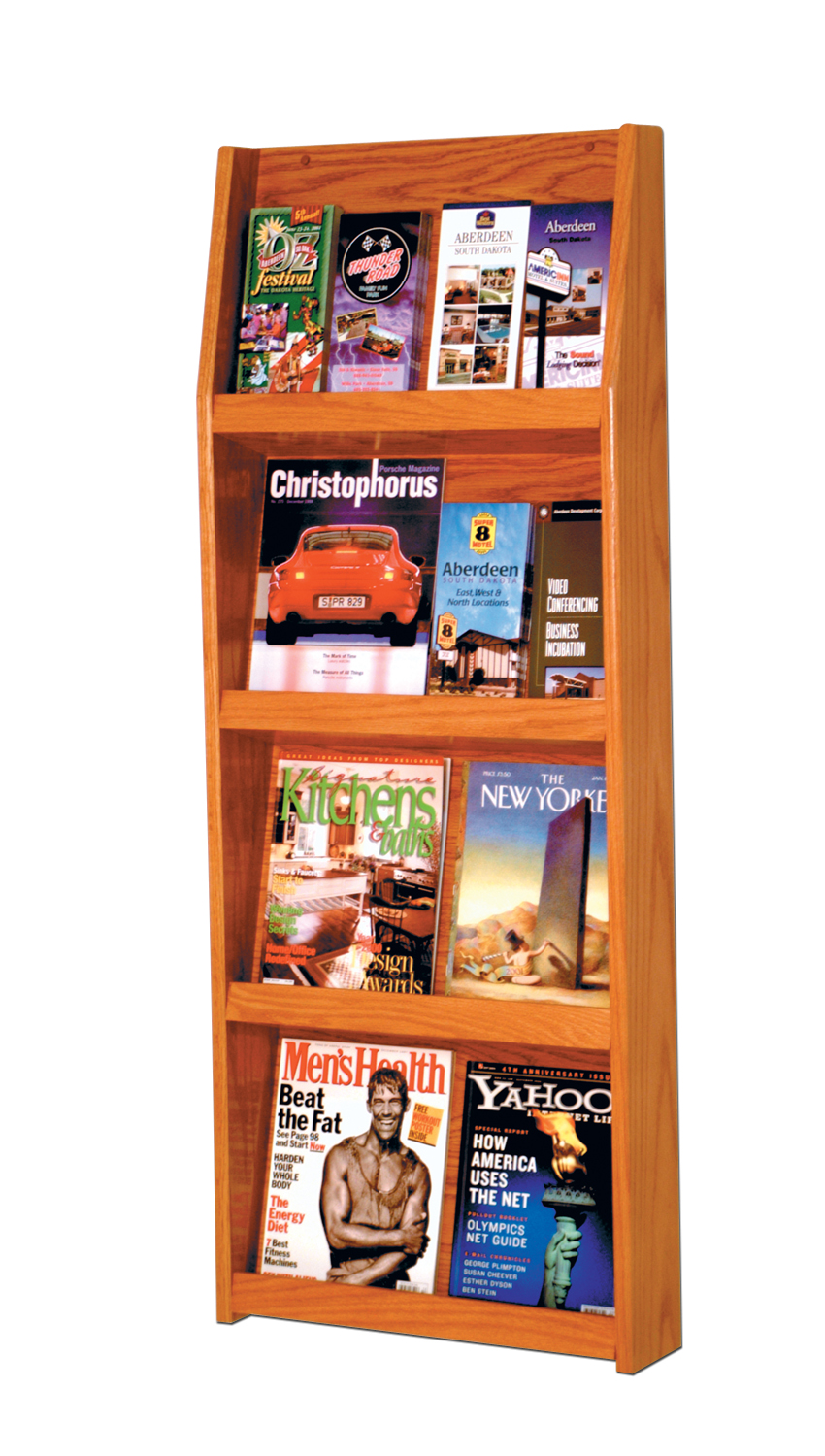 Offex Slope 16 Pocket Literature Display 4Hx4W Medium Oak
