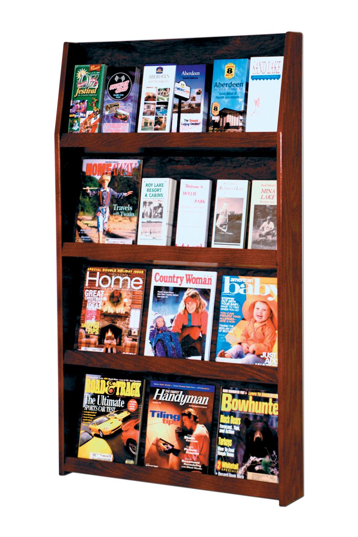 Offex Slope 24 Pocket Literature Display 4Hx6W Mahogany