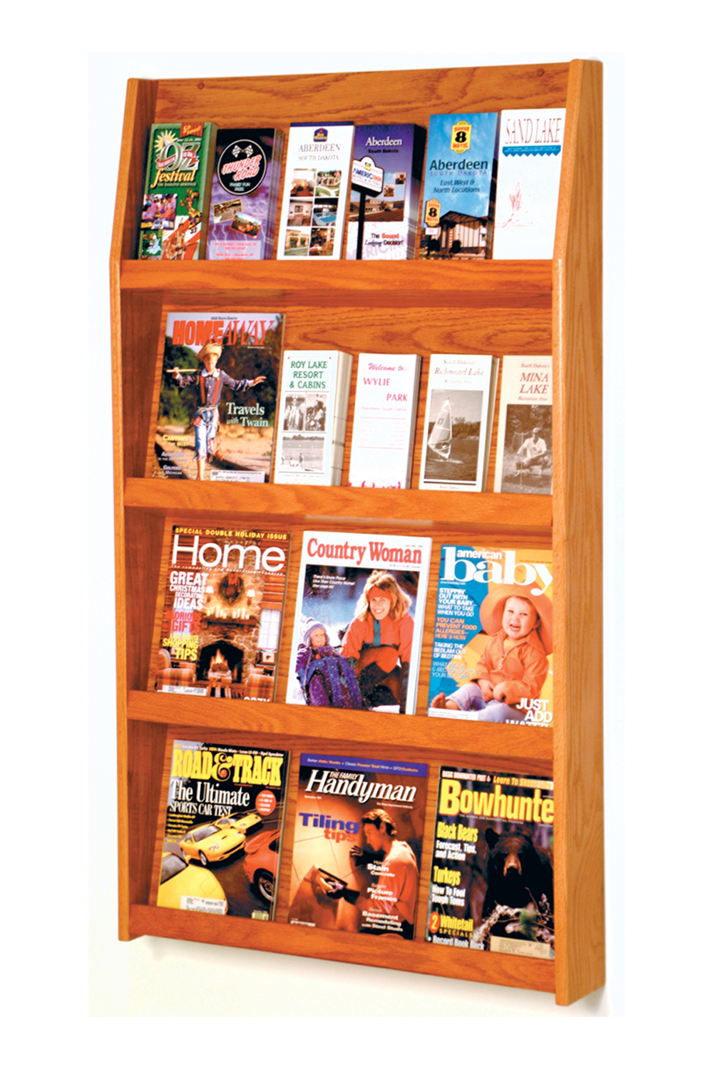 Offex Slope 24 Pocket Literature Display 4Hx6W Medium Oak