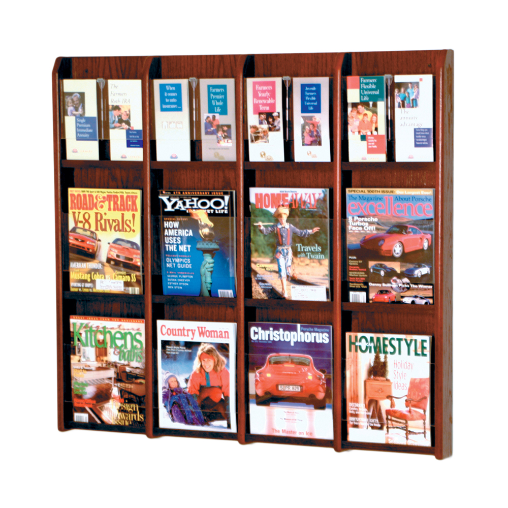 Offex Divulge 12 Magazine/24 Brochure Wall Display With Removable Inserts Mahogany