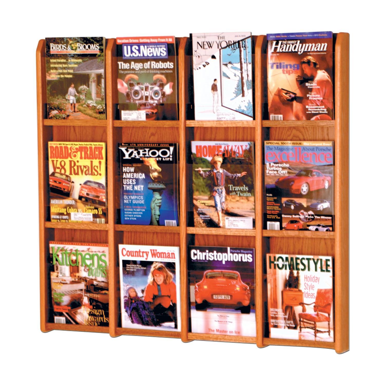 Offex Divulge 12 Magazine Wall Display Medium Oak