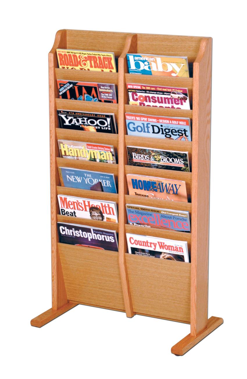 Offex Cascade Free Standing 14 Pocket Magazine Rack Light Oak