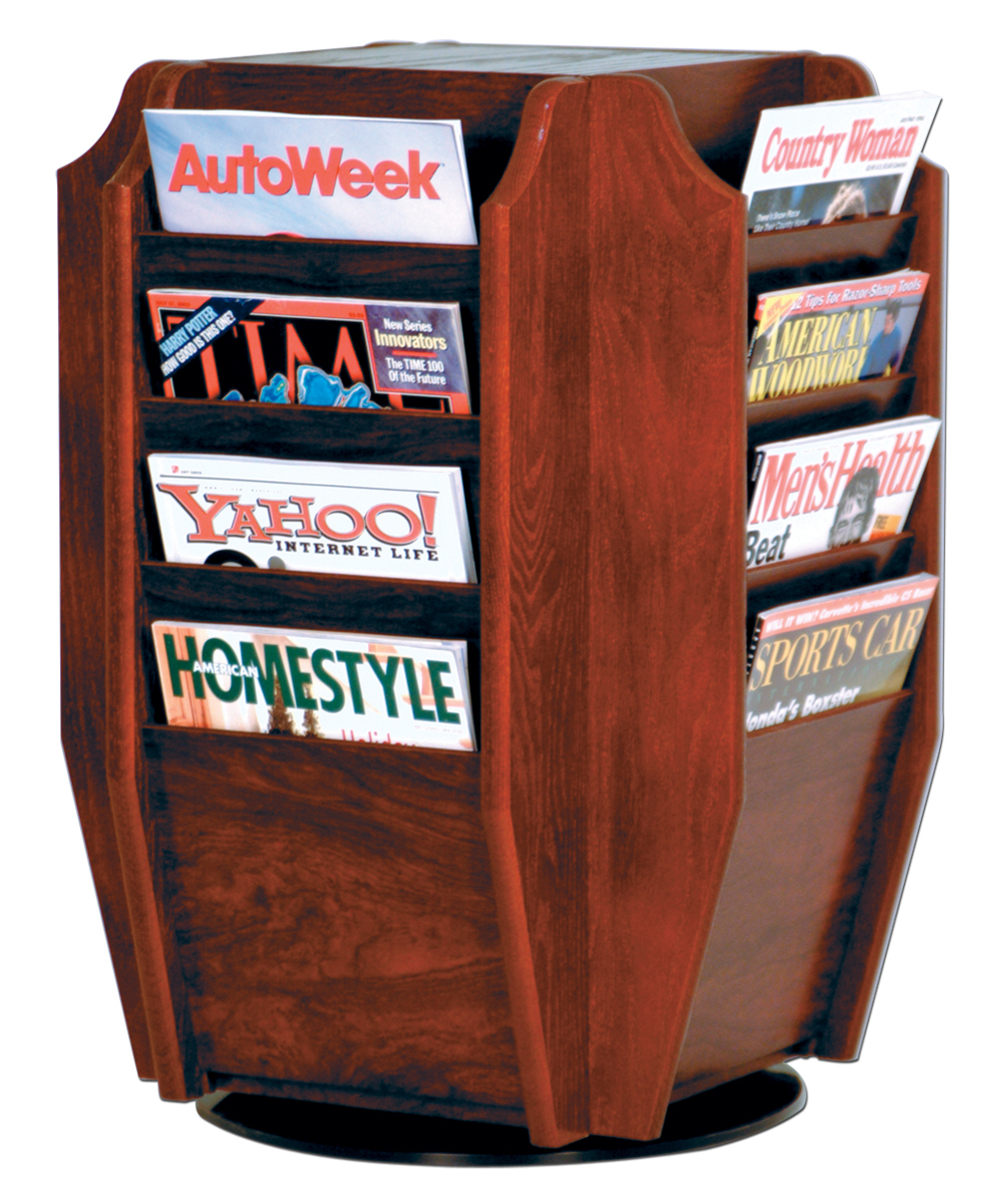 Offex Cascade Spinning Countertop Display With 16 Magazine Pockets Mahogany