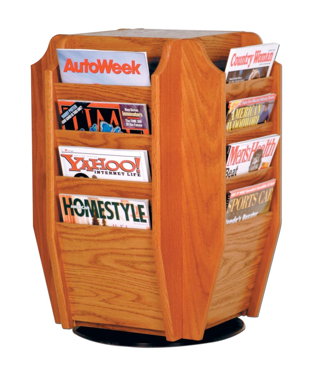 Offex Cascade Spinning Countertop Display With 16 Magazine Pockets Medium Oak
