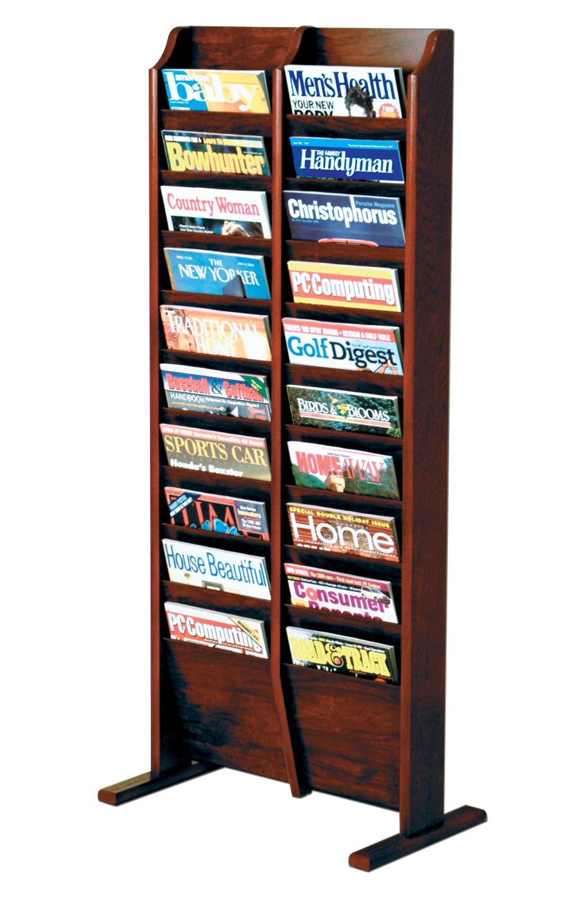 Offex Cascade Free Standing 20 Pocket Magazine Storage Rack Mahogany