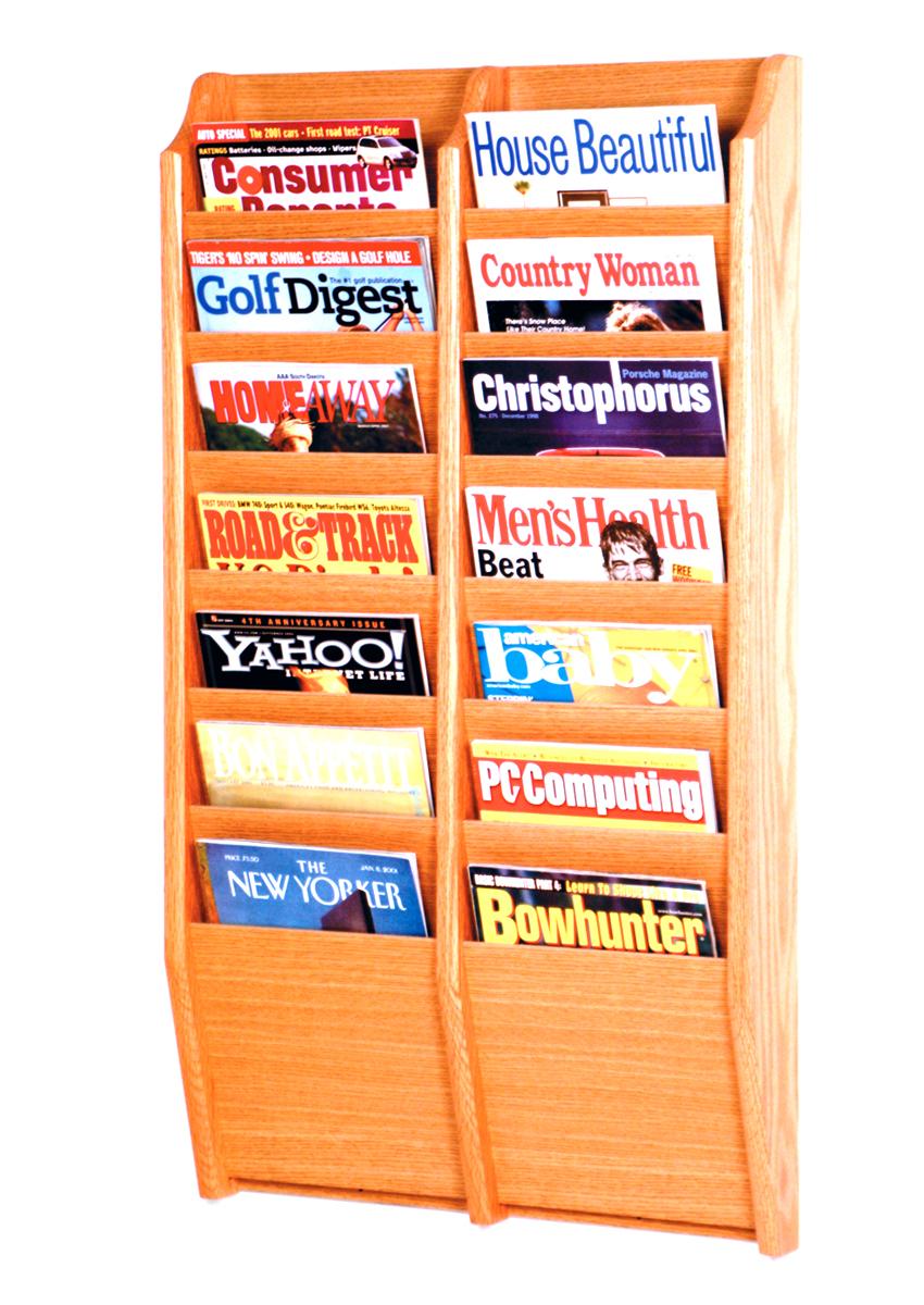 Offex Cascade 14 Pocket Magazine Rack Light Oak