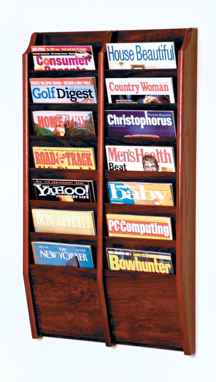 Offex Cascade 14 Pocket Magazine Rack Mahogany