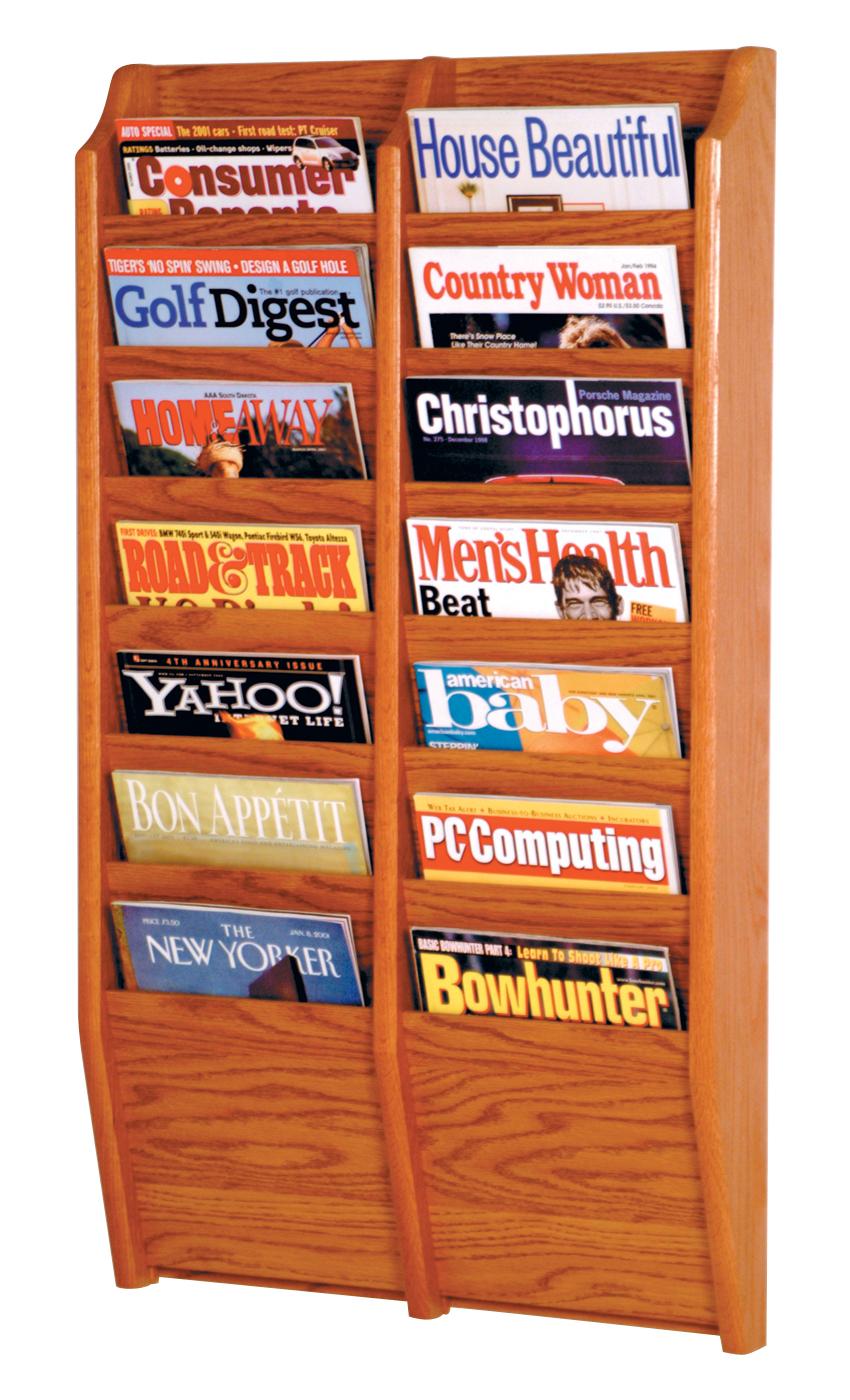 Offex Cascade 14 Pocket Magazine Rack Medium Oak