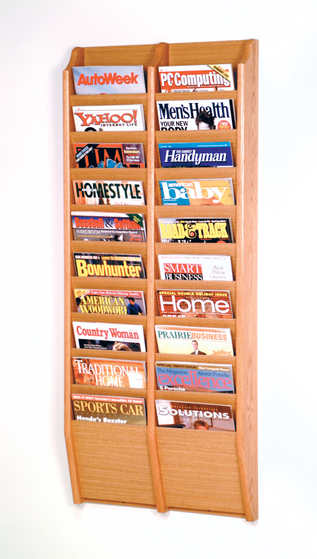 Offex Cascade 20 Pocket Magazine Rack Light Oak