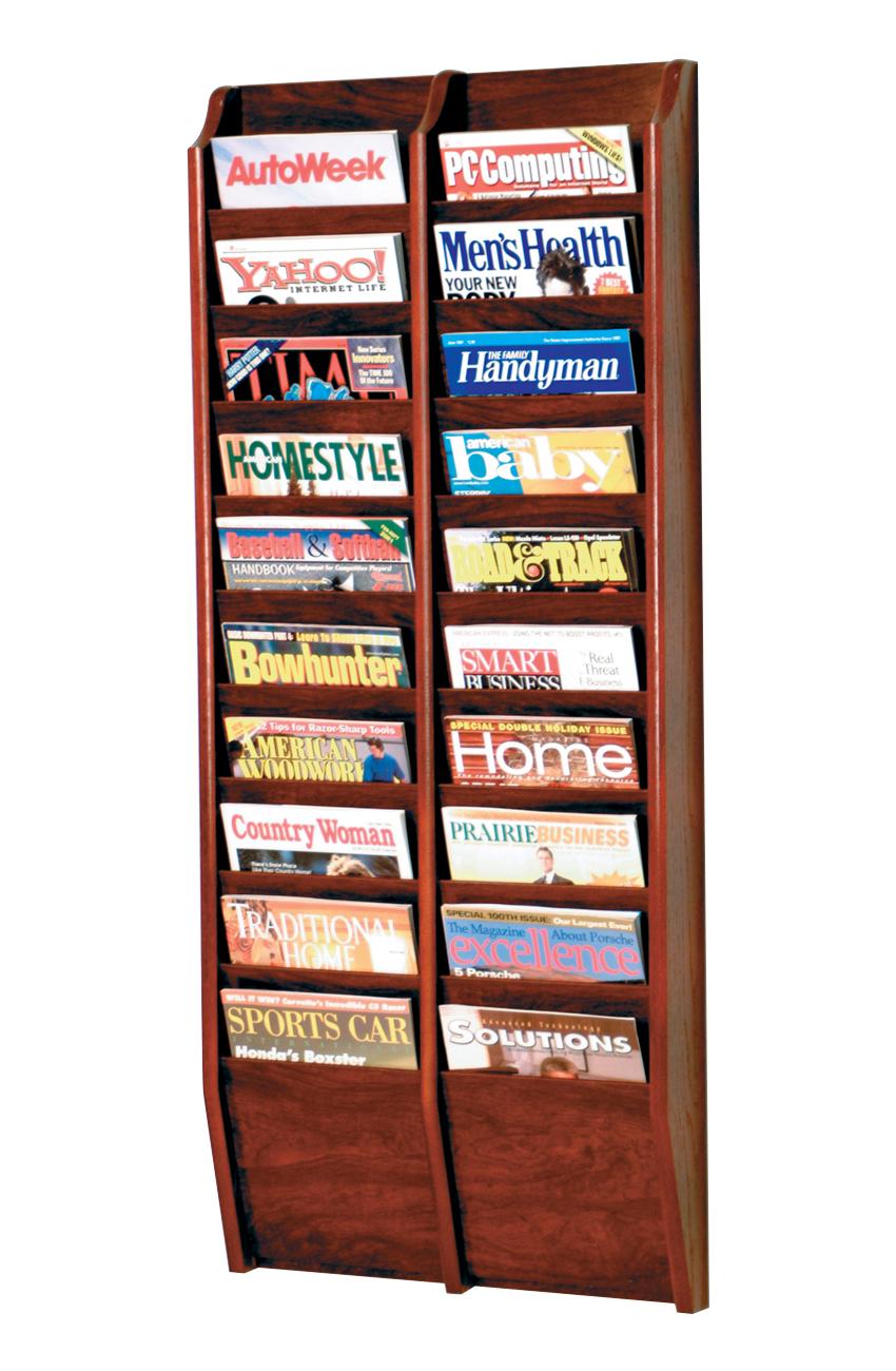 Offex Cascade 20 Pocket Magazine Rack Mahogany