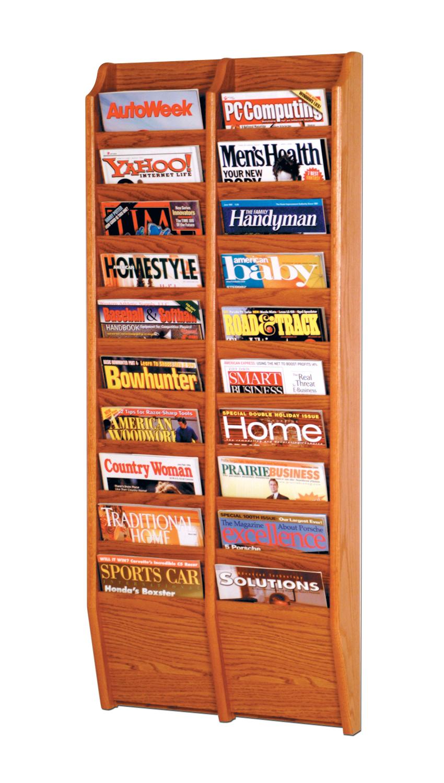 Offex Cascade 20 Pocket Wall Mount Magazine holder Rack Medium Oak