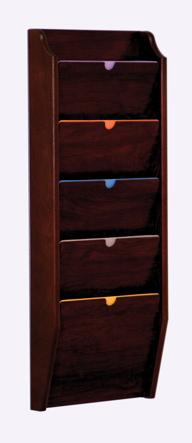 Offex 5 Pocket Privacy Letter Size Chart Holder - HIPAA Compliant Mahogany