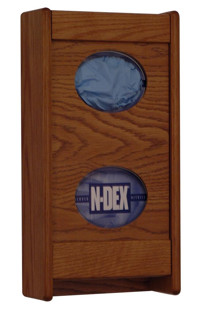Offex 2 Pocket Glove/Tissue Box Holder Medium Oak Finish
