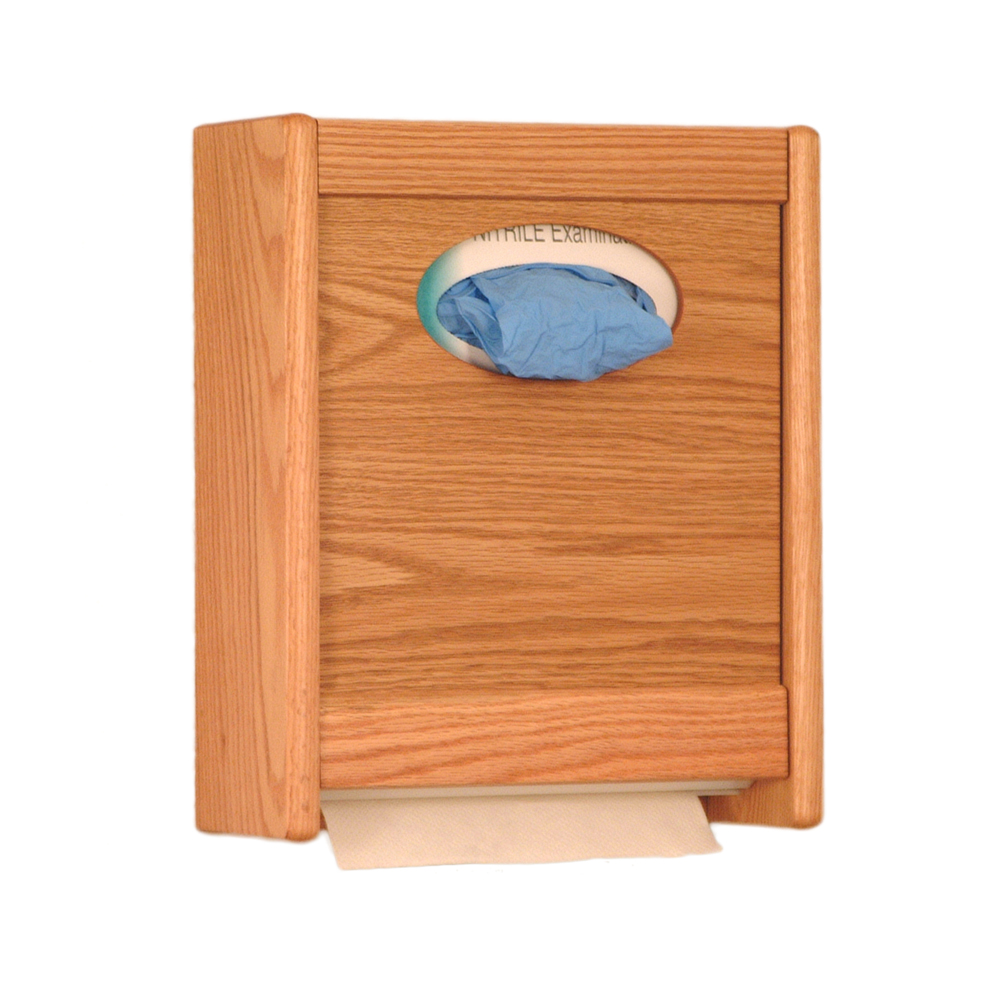 Offex Combo Towel Dispenser and Glove/Tissue Holder Light Oak