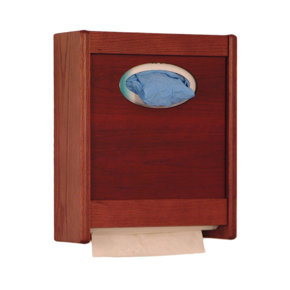 Offex Combo Towel Dispenser and Glove/Tissue Holder Mahogany