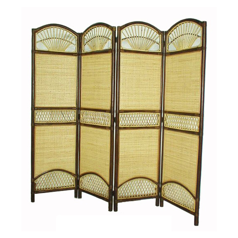 D-Art Rattan Tropical 4 Panel Screen Divider- Clickhere2shop