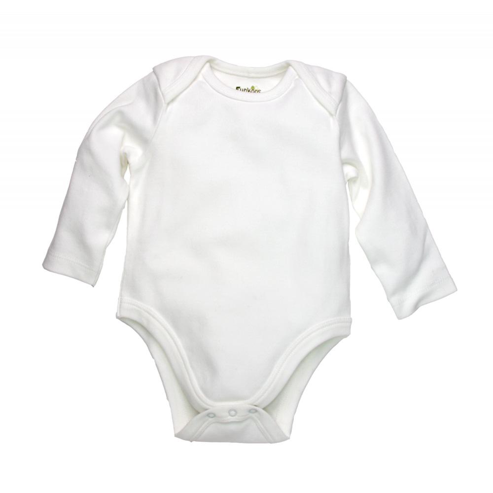 White Long Sleeve Organic Bodysuit (0-3 months)