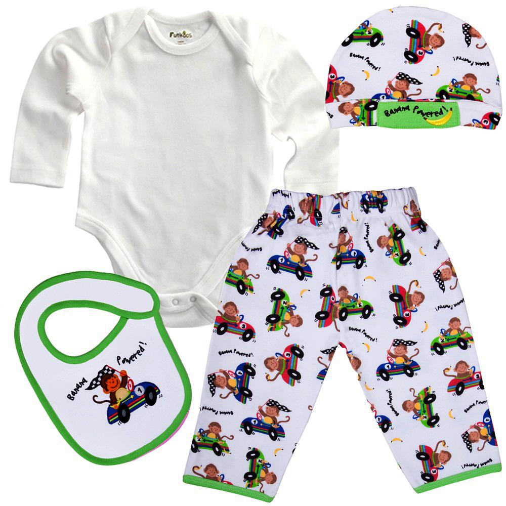 Funkoos Race Car Monkeys Organic 4 Piece Layette Set (Bodysuit, Pants, Cap and Bib)