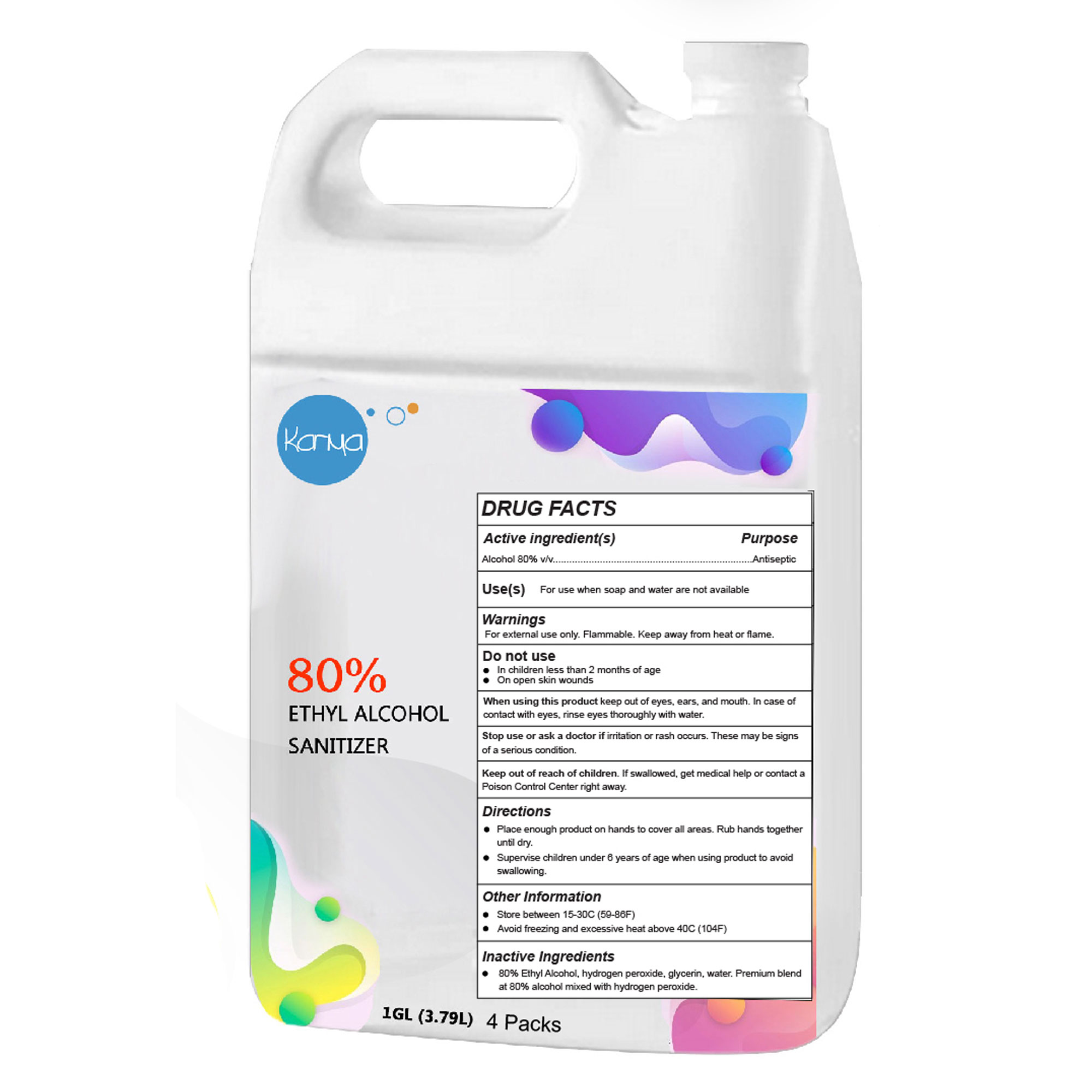 Karma 1 Gallon (80% ethyl alcohol) Hand & Surface Sanitizer - 4 Pack
