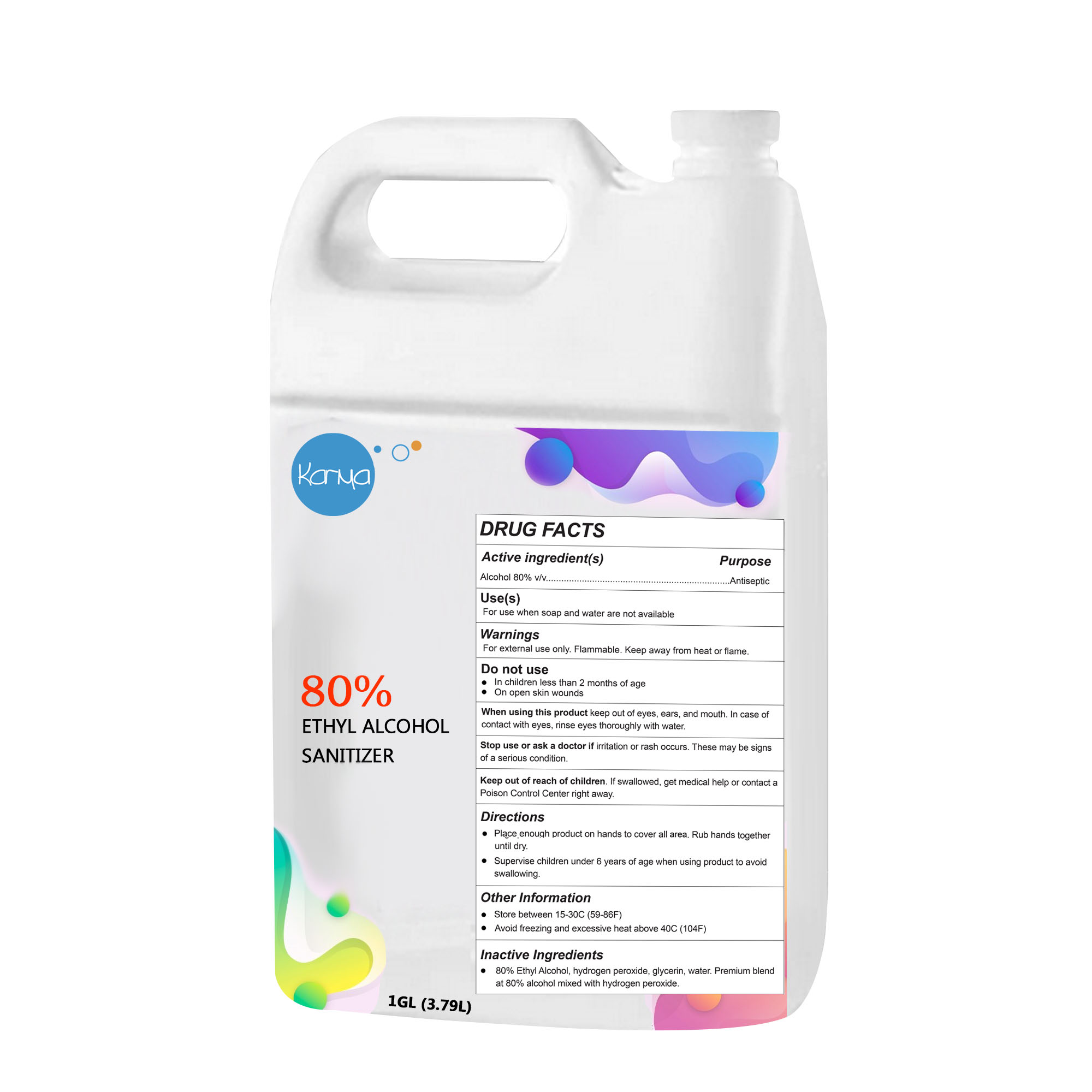 Karma 1 Gallon (80% ethyl alcohol) Hand & Surface Sanitizer