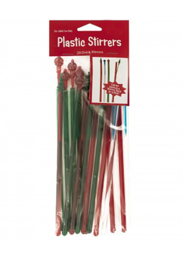 Holiday Plastic Drink Stirrer Sticks - 24 Pack: clickhere2shop com